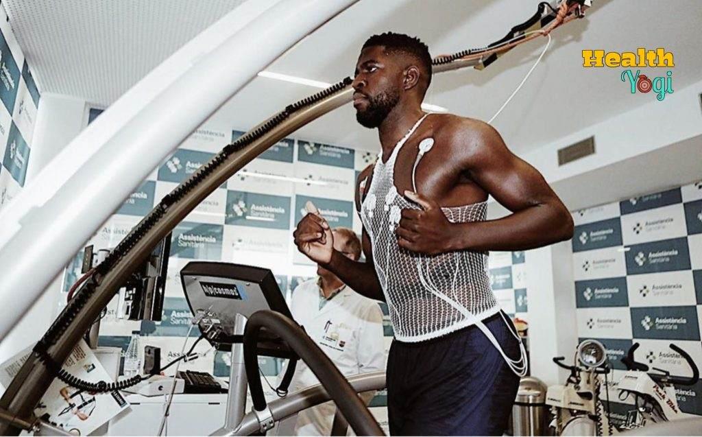 Samuel Umtiti doing cardio at gym
