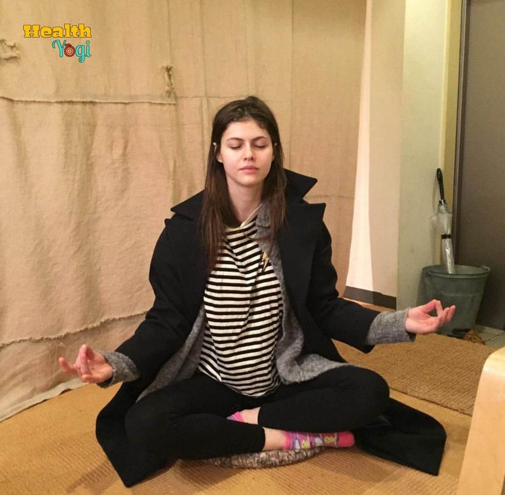 Alexandra Daddario doing meditation